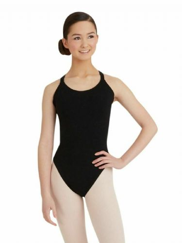 Capezio Camisole Leotard with Double Strap Back Cotton CC123 Black Teens Adult